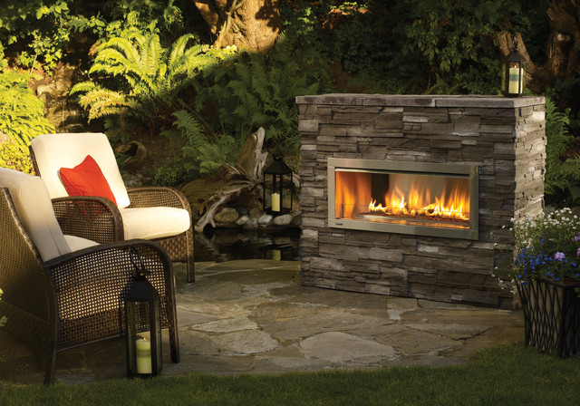 Outdoor Fireplace and Stone Flooring
